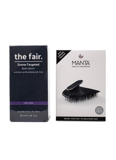 The Fair the fair. Drone-Targeted Biotin Saç Serumu 50 ml + Manta Esnek Black/Gold Saç Fırçası Renksiz